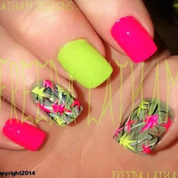 """Set of 40 Hand Painted Natural Camo Series with Neon Leaves Nail Wraps from the Freeda Latham """"Signature Collection."""" ©"""