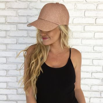 Glitter & Glam Hat in Rose Gold