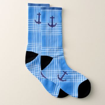Custom Plaid Anchor Socks (US Men's 8-13)