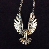 3D silver eagle spread wing bird necklace pendant