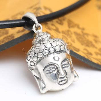 Handcrafted 925 Silver Buddha Head Pendant Vintage Sterling Silver Buddha Statue Pendant Man Necklace Pendant Buddha