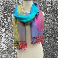 Pashmina Shawl Scarfs Feathers print Colorful Styles Scarves Soft Comfy Wrap Large for Autumn Winter bridesmaid stylish Unique Silk touch