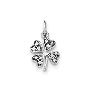 Sterling Silver Four Leaf Clover with Crystal Pendant