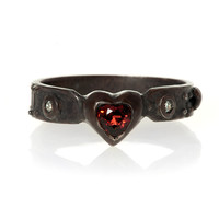 Steampunk My Heart Ring - Red Garnet and Diamond [BBD] - $132.00 : Gorey Details, - Edward Gorey, Tim Burton, Alice, Poe, gothic, horror, halloween, vampire, bats, skull, zombie, dragon, fairy, victorian
