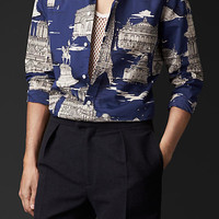 Paris Landmarks Cotton Silk Shirt