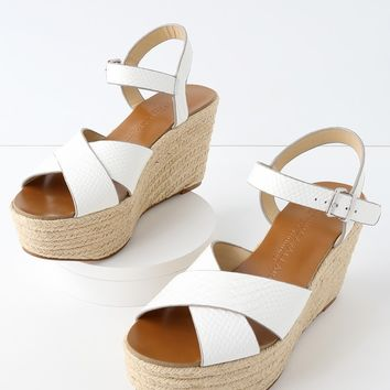 Mikah White Snake Leather Espadrille Wedges