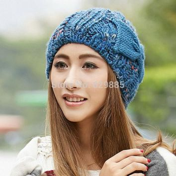 2016 Women Charm Winter Cap Female Flower Blue Bow Soft Fabric Elastic Acrylic Outdoor Thermal Knitted Brown Hats
