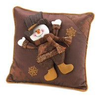 Happy Snowman Pillow Decorative Throw Pillow