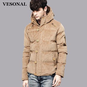 VESONAL Winter Corduroy Hood Padded Quilted Men Jacket Coat Fashion Warm Male Jackets Parka Hooded Casual Overcoat Russian 81601