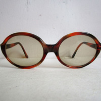 Vintage 1970s Eyewear Rodenstock Amber Acrylic Funky Sunglasses Glass Lenses 70s Sunnies