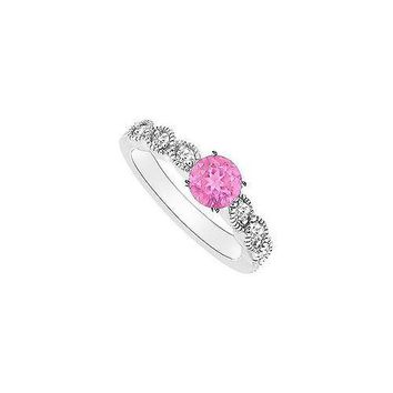 Pink Sapphire and Diamond Engagement Ring : 14K White Gold - 0.35 CT TGW