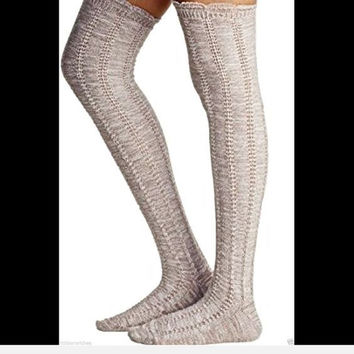 Free People Thigh High Pointelle Knit Beige Socks