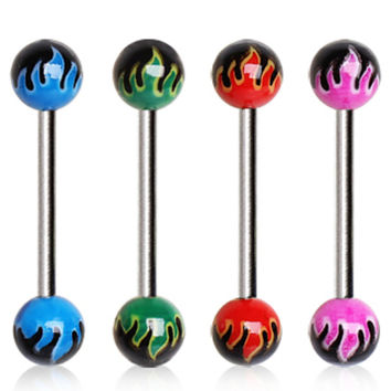 316L Surgical Steel Barbell with UV Coated Flame Balls
