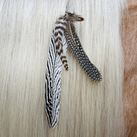 Black and White Feathered Mane Ornament - feathers horse jewelry - Mane Dangler