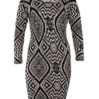 Samya Black Mosaic Print Bodycon Dress