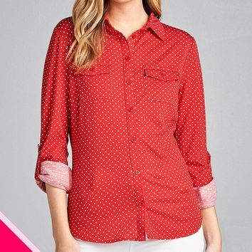 LL Plus Size 3/4 Roll Up Sleeve Dot Print Stretch Knit Shirts w/ Front Pocket Detail