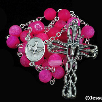 Anglican Rosary Pink Agate Effloresce Stone Prayer Beads Silver Christian Episcopal Rosary Beads