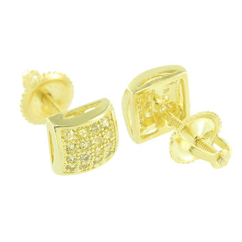 Canary Lab Diamond Earrings Mens Womens Screw On 14K Yellow Gold Finish 7 MM New