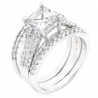 Nadine's Princess & Round Cut CZ Triplet Wedding Ring Set