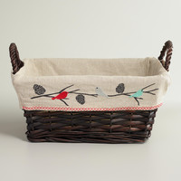 Snowbirds Lined Willow Basket - World Market