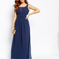 Elise Ryan Ruched Maxi Dress With Plunge Lace Bust at asos.com