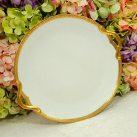 Beautiful Limoges Porcelain Handled Platter Tray ~ White ~ Gold Encrusted