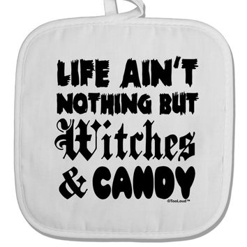 Witches and Candy White Fabric Pot Holder Hot Pad