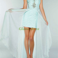 unique long chiffon prom dresses with rhinestone / sweetheart high low gowns for homecoming / cheap holiday party dress on sale