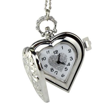 Vintage HEART Harry Potter Locket Style Pendant Pocket Watch Necklace