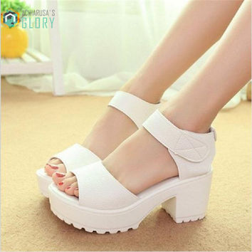 White Women Sandals Hook & Loop 2016 Platform High Heels Lightweight EVA Cut-Outs Sandals Open Toe Black Fashion Free Shipping