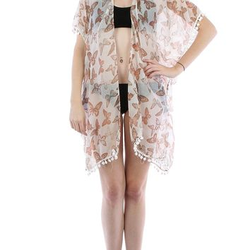 Brown Butterfly Print Sheer Cover Up Poncho