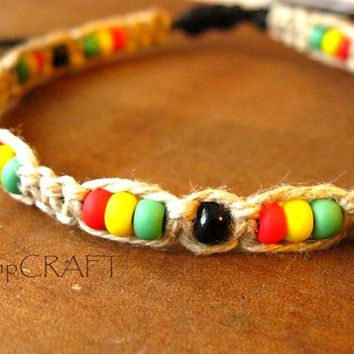 Hemp Bracelet, Rasta Macrame with Red Yellow Green Glass Beads
