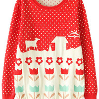 ROMWE | Red Long Sleeve Polka Dot Flower Pattern Jumper, The Latest Street Fashion