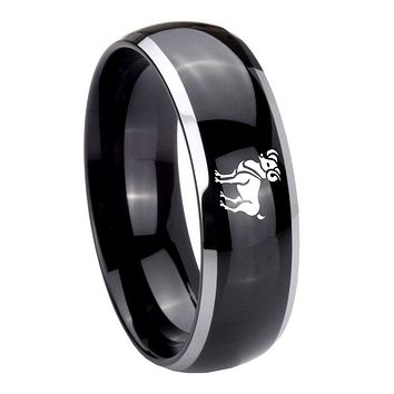 10MM Dome Glossy Black Middle Aries Classic Two Tone Tungsten Men's Ring