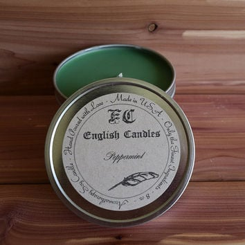 Peppermint - Aromatherapy Soy Candle - Fresh Minty Unisex Aroma - Hand Poured - 8 oz. Tin Container - Baby/Bridal Shower Favor - Gift