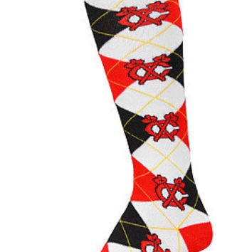 For Bare Feet Chicago Blackhawks Women's Argyle Knee High Socks