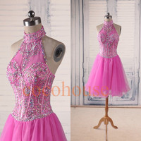 Pink Sexy Crystals Short Prom Dresses, Bridesmaid Dresses ,Backless Homecoming Dress, Party Dresses,Wedding Party Dresses, Cocktail Dresses