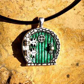 The Hobbit Lord of the Rings Door Locket  Pendant necklace with Genuine Leather Cord or Silvery Alloy Matching Chain