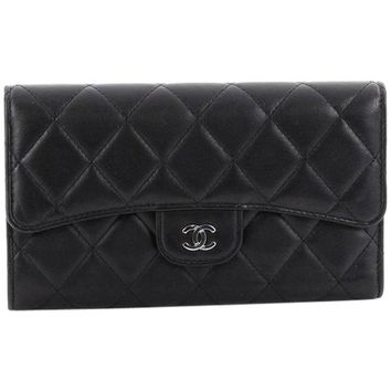 Chanel L Flap Wallet Quilted Lambskin Long