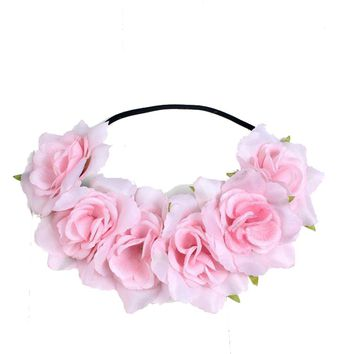 Large Rose Flower Forehead Hair Headband Hair Crown Summer Festival Garland