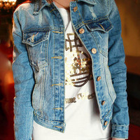 Blue Jeans Twin Pocket Buttoned Denim Jacket