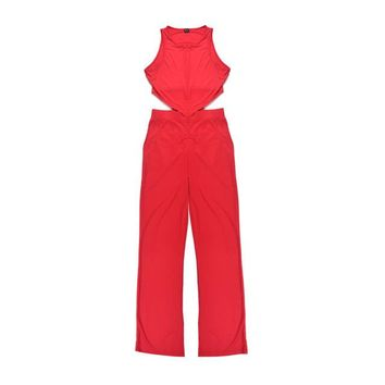 Sexy Rompers Womens Jumpsuit Long Women Jumpsuit Red One Piece Overalls for Women Summer Playsuits High Neck Bodysuit 2015