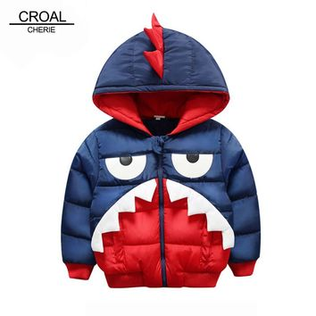 CROAL CHERIE Shark Boys Children's Winter Jacket For Teenage Boys Coat Parka Kids Cute Animal Thickening Children Clothing