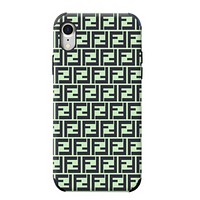 Fendi New more letter print couple protective cover phone case Green