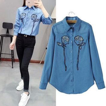 PEAPIX3 Stylish Long Sleeve Embroidery Denim Women's Fashion Shirt Blouse [4919013380]