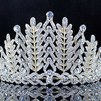 Janefashions Vintage Floral Clear Crystal Rhinestone Tiara Crown Bridal Prom Pageant T11886 Gold