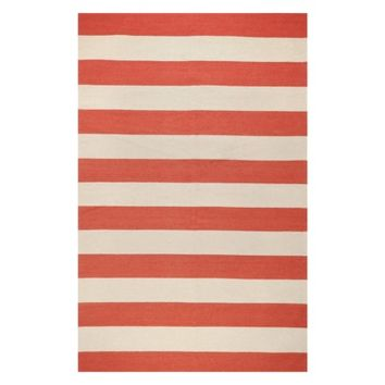 Rugby Stripe Flat Weave Area Rug