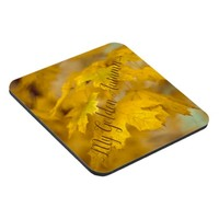 Yellow autumn maple leaves. Add you text or name. Beverage Coaster