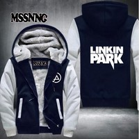 New Winter Jackets and Coats Linkin Park hoodie Anime Luminous Hooded Thick Zipper Men cardigan Sweatshirts USA Size