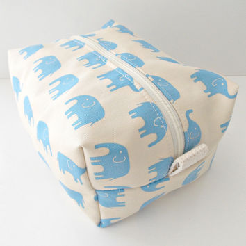 Blue Elephant Bag - Cosmetic Pouch -  Lunch Bag - Wet Bag -Waterproof Bag